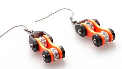 Boucle d'oreille chaine moto Orange1