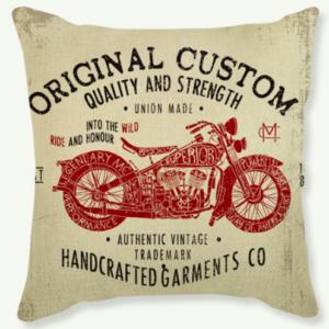 Coussin vintage moto Rouge