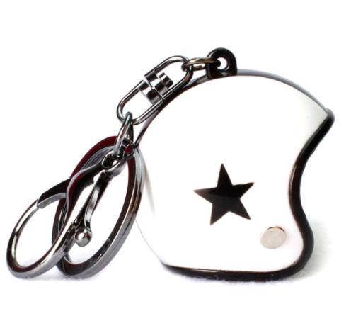 Porte-clef casque de moto blanc1