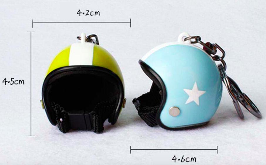 Porte-clef casque de moto blanc2