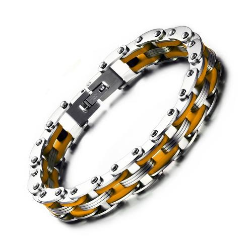 Bracelet style chaine moto jaune