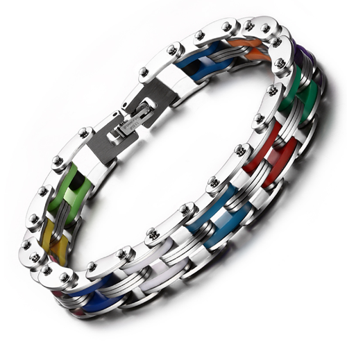 Bracelet style chaine moto multicolor