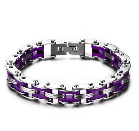 Bracelet style chaine moto violet3